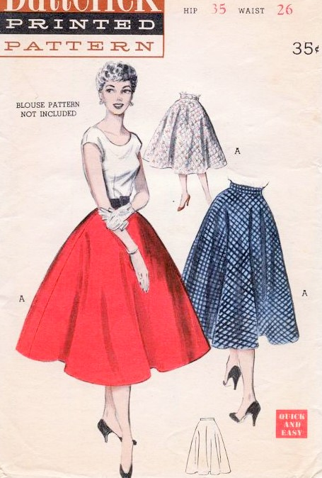 50s Butterick 6167 Rockabilly Quick And Easy Semi Circle