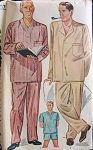 1940s Mens  Dapper Walter Pidgeon Style Long or Short PAJAMAS Pattern SIMPLICITY 1202 Size Large Vintage Sewing Pattern