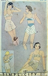 RARE 1930s Lingerie Pattern Bias Cut Tap Panties Knickers and Cute Bow Trim Bandeau Bra  Simplicity 1282 Vintage Sewing Pattern Bust 38 Downton Abbey Era