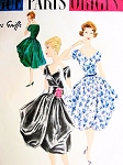 1950s AMAZING Jacques Griffe Evening Party Dress and Petticoat Pattern VOGUE PARIS ORIGINAL 1457 Low V Neckline Draped Skirt Surplice Bodice Bust 36 Vintage Sewing Pattern