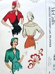 1950s Beautiful Bolero Jacket, Hat and Embroidery Transfer Pattern Striking Shaped Neckline Matador Style Jacket McCalls 1638 Vintage Sewing Patterns Bust 30