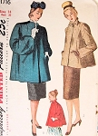 1940s Simplicity 1716 Coat Jacket Pattern 3  Stylish Versions, Swing Back  2 Sleeve Choices Includes Stunning Full Shaped Sleeve Vintage Sewing Pattern Bust 32