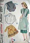 1940s Apron Pattern FULL and HALF APRONS With Transfers  Size Large UNCUT