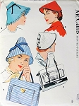 1950s Hats Bags Pattern McCalls 1932 Three Hat Styles Two Tote Handbag Purse Styles Vintage Sewing Pattern