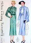 1930s ART DECO DRESS, JACKET ENSEMBLE PATTERN BEAUTIFUL STYLE DETAILS, DAY TIME or EVENING SIMPLICITY 1954