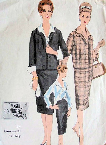 1960 Classy GIOVANELLI Suit Pattern Vogue Couturier 207 Slim Skirt