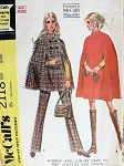 1960s McCalls 2118 Cape Coat and Straight Leg Pants Vintage Sewing Pattern Fab Cape Coats 2 Lengths Bust 34 FACTORY FOLDED
