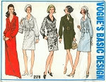 1960s Slim Shirt Dress Pattern VOGUE 2178 Vintage Sewing Pattern Day or Evening Length