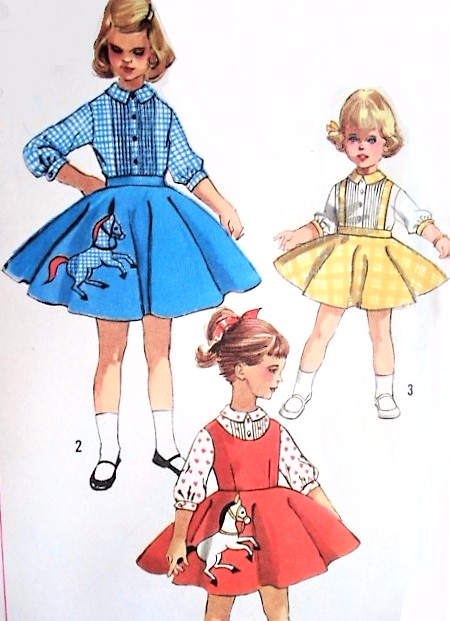 1950s ROCKABILLY Little Girls Skirt Pattern SIMPLICITY 2287 Circle Pinafore Dress Suspender Poodle Childrens Vintage Sewing