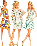 1970s CUTE Party  or Sundress and Stole Pattern McCALLS 2446 Ultra Mod  High Waisted Dress Size 10 Vintage Sewing Pattern FACTORY FOLDED