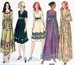 1970s  Lovely High Waist Dress Pattern 3 Lengths, 3 Neckline Styles Day or Evening Vogue Basic Design 2635 Vintage Sewing Pattern Bust 34