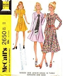 1970 Dress Pattern 3 Style Versions Mini, Regular and Midi Lengths Flattering Princess Seam McCalls 2650 Vintage Sewing Pattern UNCUT