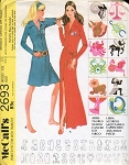 1970s Unique Dress or Robe  With Zodiac and Monogram Transfers Pattern McCall's 2693 Vintage Sewing Pattern UNCUT FACTORY FOLDED