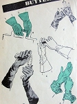 1940s GLOVES Pattern Butterick 2810 Five DAY or EVENING Glamorous Styles Vintage Sewing Pattern