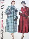 1940s BOXY COAT, SCARF PATTERN LOOSE FLARE BACK STYLE, HUGE ELEGANT CUFFS SIMPLICITY 2997