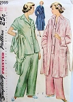 1940s 2 PC PAJAMAS, ROBE HOUSECOAT PATTERN CLASSIC STYLES SIMPLICITY PATTERN 2999