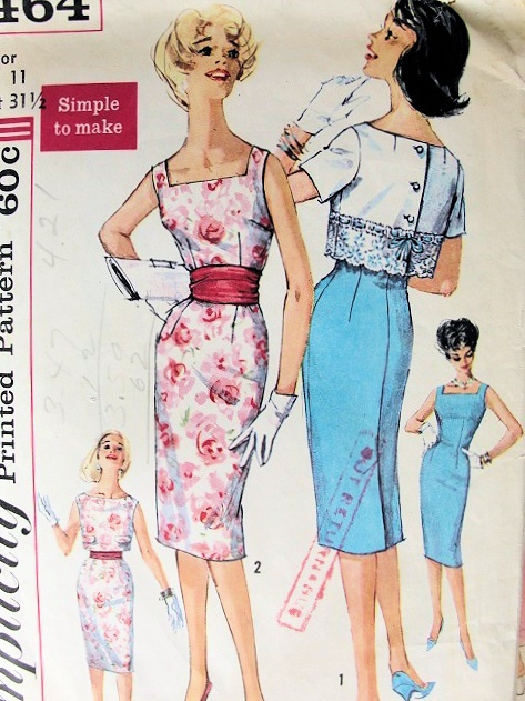 1960 SIMPLICITY 3464 PATTERN SIMPLE TO MAKE SLIM COCKTAIL DRESS ...