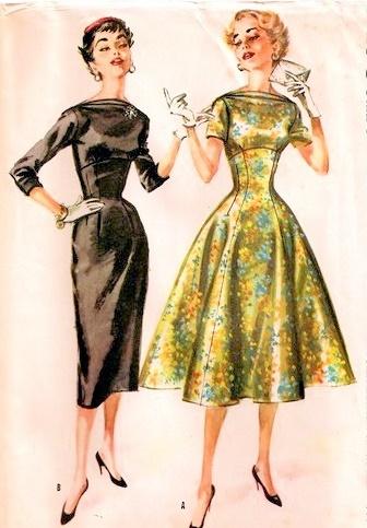 1950s COCKTAIL DRESS PATTERN SLIM or FULL SKIRTED BATEAU NECKLINE ...