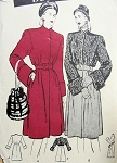 1940s  ELEGANT COAT PATTERN WIDE CUFFS, CINCHED IN WAIST, FABRIC or FUR BUTTERICK PATTERNS 3618