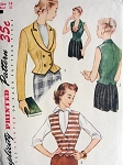 1950 STYLISH FITTED JACKET, WESKIT VEST PATTERN LOVELY DOUBLE BREASTED, LOW U NECKLINE SIMPLICITY PATTERNS 3683