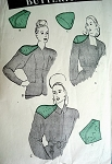 RARE 1940s Shoulder Pads Pattern BUTTERICK 3717 Set of Pads For Rounded Shoulder Sihouette For Dress, Suit or Coat Vintage Sewing Pattern