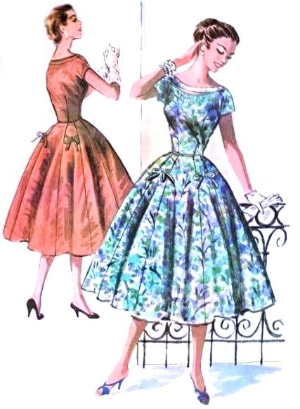 1950s Beautiful Dress Pattern McCalls 3718 Lovely Peek a ...