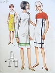 1960s BUTTERICK 3886 MOD SHIFT DRESS PATTERN MONDRIAN COLOR BLOCK 3 STYLES QUICK n EASY TO MAKE Bust 31UNCUT
