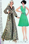 1970s Midriff Dress Pattern Fabulous Deep V Neckline, Short or Floor Length Bohemian Styles McCalls 3971 FF Bust 38