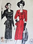 1940s Mesmerizing Cocktail Dinner Party Dress Pattern Flattering Low Cowl Neckline, Cascade Drapery Butterick 3996 Vintage Sewing Pattern Bust 32