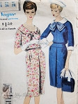 1960 Slim Dress Pattern Two Lovely Style Versions With Detachable Collar and Cuffs Vogue Special Design 4117 Vintage Sewing Pattern Bust 36