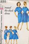 1960s Mad Men Era Round The Clock Dress Pattern Slim Sheath ,Sleeveless Jacket, Tunic Overskirt and Overskirt Day to Evening Looks Simplicity 4125 Vintage Sewing Pattern Bust 31.5