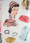 1940s  ACCESSORIES PATTERN HATS, DICKEYS, COLLAR, HAND BAG PURSE SIMPLICITY 4195 Vintage Sewing Pattern