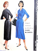 1950s RARE Claire McCardell Dress Pattern Exclusively Designed For McCalls 4228 Stunning Draped Bodice Figure Flattering Day or Cocktail Dress Bust 38 Vintage Fifties Sewing Pattern