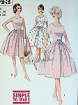 1960s Very Pretty Dress Pattern Front Inverted Pleat Full Skirt 3 Versions, Simple To Make Simplicity 4343 Vintage Sewing Pattern Bust 31.5
