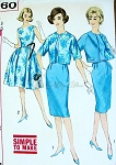 1960s Mad Men Slim or Full Skirted dress and Reversible Jacket Pattern Simple To Make  Factory Folded Bust 33