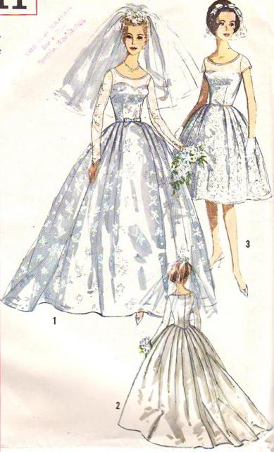 1950s Beautiful Classic Wedding Bridal Dress Pattern