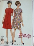1960s Mod Shift Dress Pattern Slightly A Line Semi Fitted Dress With Bias Neckband Cute Button Loop Back Butterick Boutique 4511 Vintage Sewing Pattern Bust 32 UNCUT