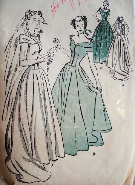 1940s dramatic wedding gown bridal dress pattern advance 4521 for 1940s wedding dress patterns