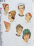 1950s Set of Fashionable Hats Pattern Simplicity 4677 Three Styles  PILL BOX, CLOCHE, POINTED CONE SHAPE Day or Evening Designs Vintage Sewing Pattern