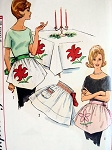 1960s HOLIDAY APRON PATTERN + TRANSFERS APPLIQUE, SMOCKING