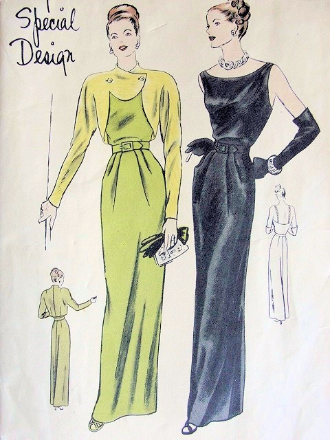 1940s Beautiful Evening Gown Dress Unique Bolero Pattern
