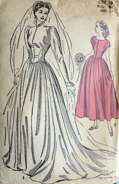 1940s gorgeous victorian gothic high neckline wedding gown for Victorian style wedding dress pattern