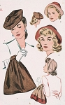SIMPLICITY 4844 War Time Hats Bag Pattern WW II Hats and Purse Stylish Designs Vintage Sewing Pattern FACTORY FOLDED