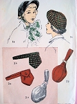 1940s HAT, PURSE, POUCH BELT BAG PATTERN GREAT STYLES ADVANCE 4990 Vintage Sewing Pattern