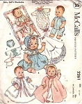 1950s Baby Doll Clothes Wardrobe Pattern McCalls 2261 Vintage Sewing Pattern For Ginnette, Gigi's Li'l Sister, Tiny Tears, Betsy Wetsy and Dydee Baby Dolls UNCUT FACTORY FOLDED