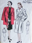 1940s STRAIGHT COAT JACKET PATTERN TRENCH WRAP STYLE COAT or  3/4 LENGTH DOUBLE BREASTED BOXY JACKET VOGUE PATTERNS 5430