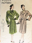 1940s  BELTED FULL LENGTH COAT PATTERN NICE CUFFED SLEEVES WIDE LAPELS VOGUE 5512