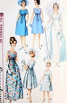 1960s Mod Retro Empire Wedding Gown Bridal Dress Pattern Simplicity 5872 Evening or Bridesmaid Dress Bust 33 Vintage Sewing Pattern