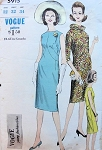 1960s VOGUE YOUNG FASHIONABLES 5915 Dress Pattern Slim Front Seam Details Oval Neckline Circular Bias Scarf Bust 32