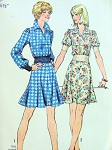 1970s SIMPLICITY 5960 TWO PC DRESS, FLIPPY SHORT SKIRT CUTE STYLE